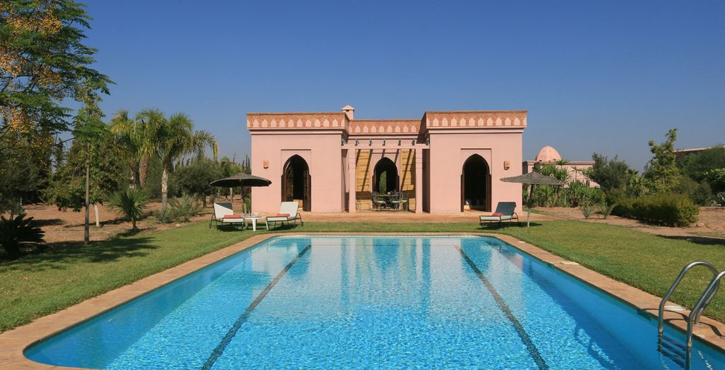 With a private pool in picturesque surroundings
