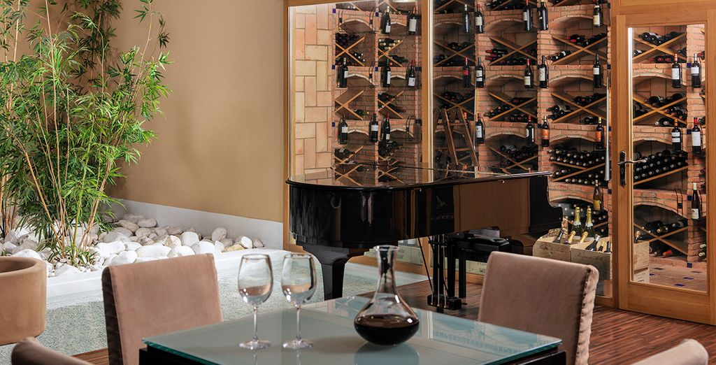 Why not end your day with a trip to the extensive wine cellar...