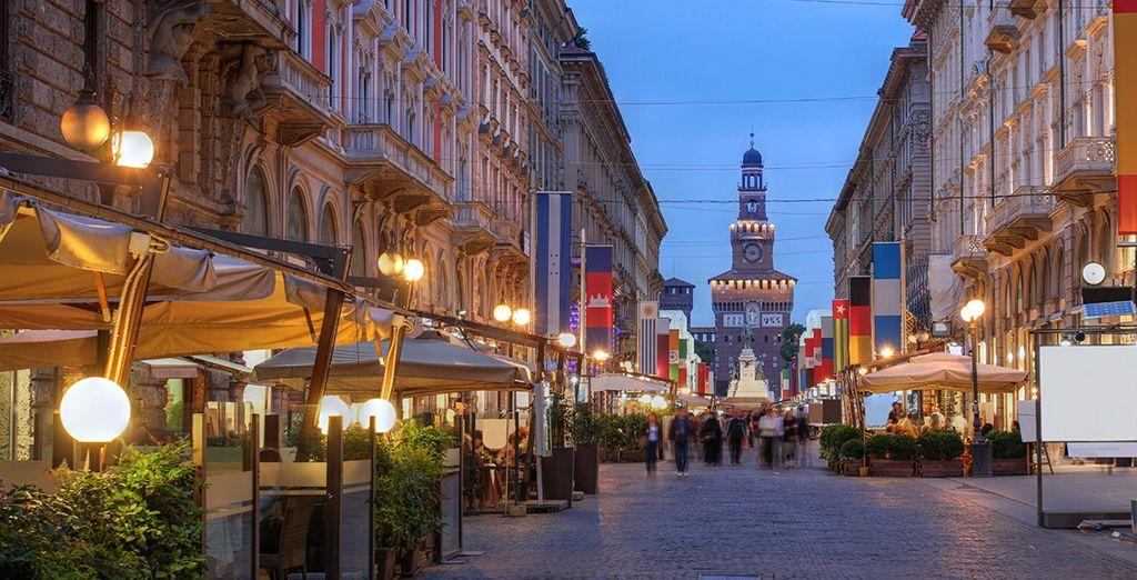 And the bustling Via Dante's elegant restaurants