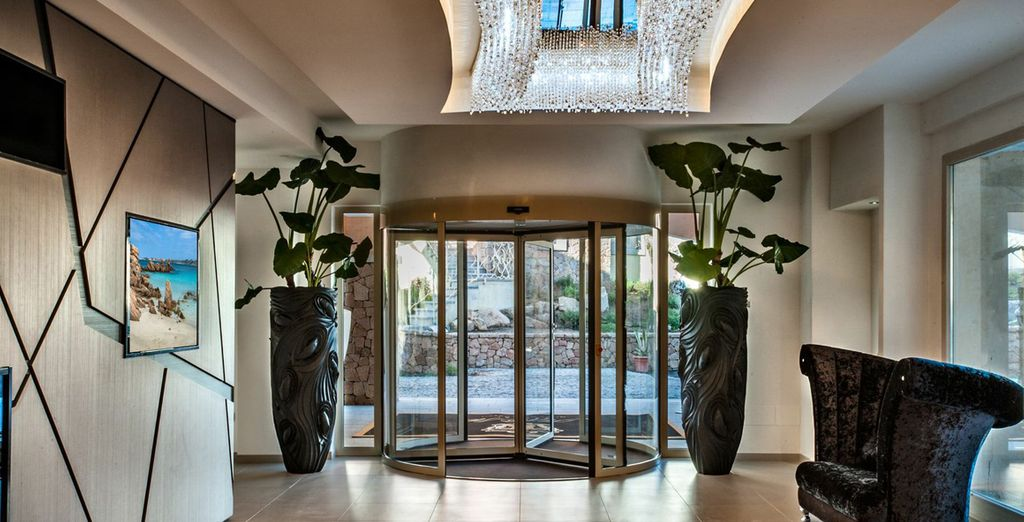 Enter through the inviting lobby