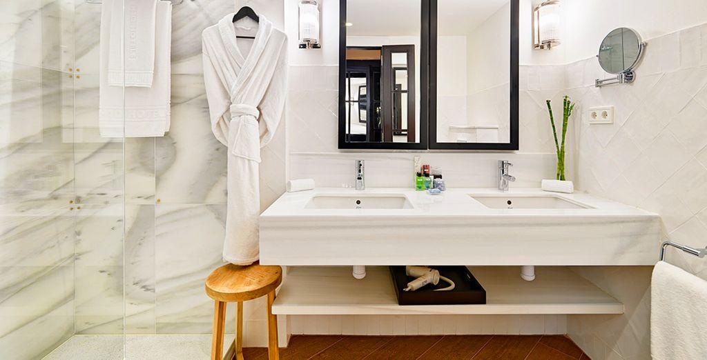 And a sleek and stylish bathroom