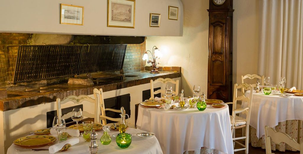 Or tuck into local delicacies in the rustic restaurant