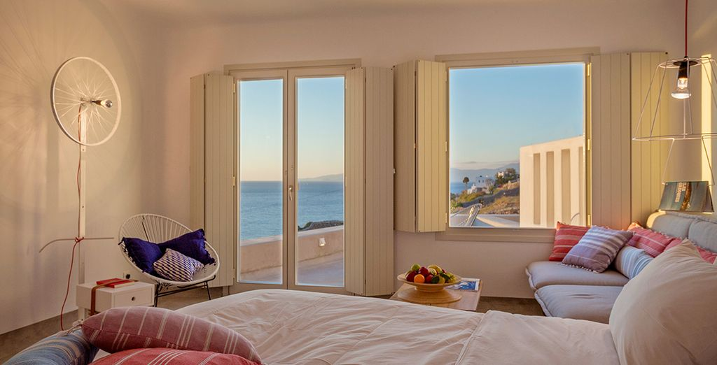 Awake to gorgeous sea views from your Deluxe Suite