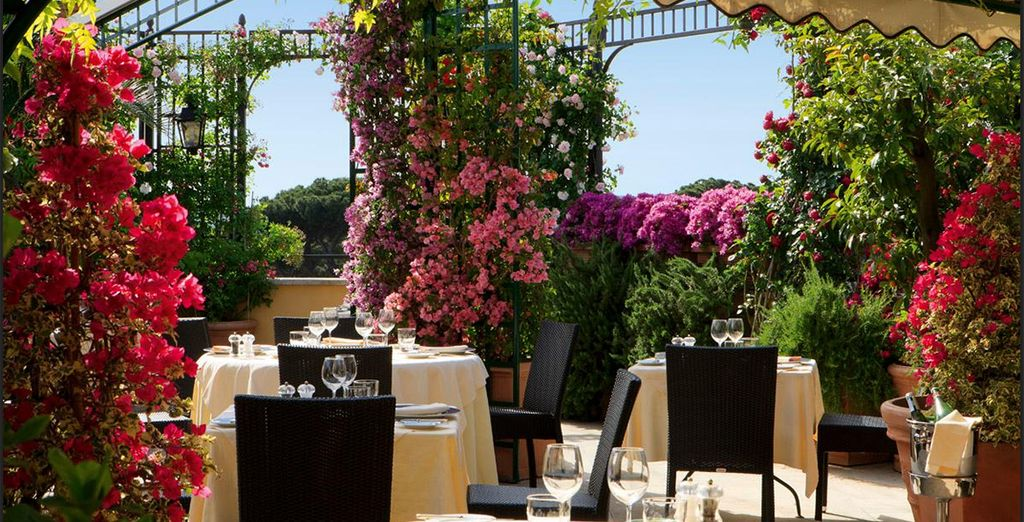 Retreat to the roof garden of this beautiful hotel for a drink...