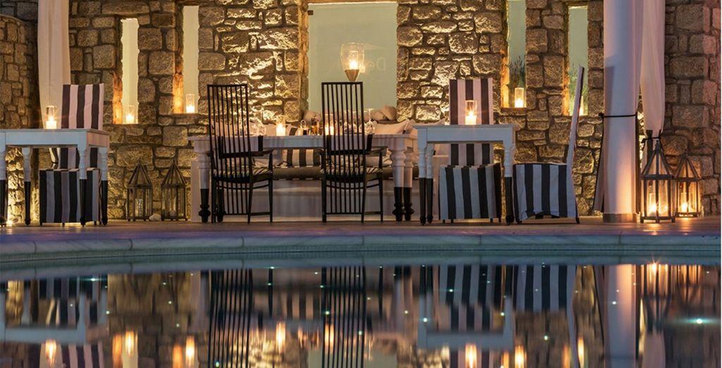 As night falls on this luxury resort