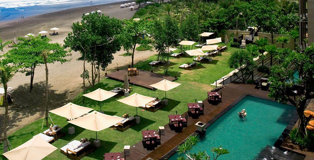 An upscale beach front resort