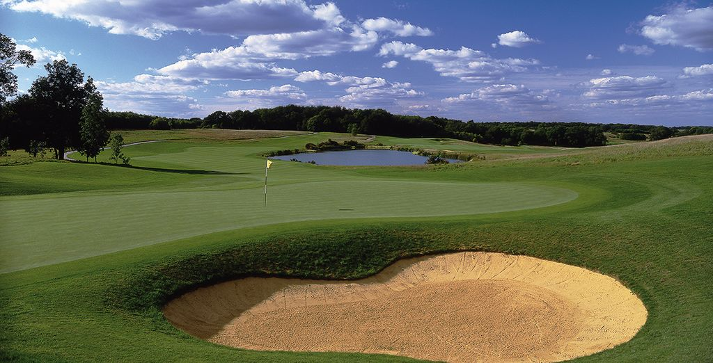 Golfers can practise their swing at one of the nearby courses
