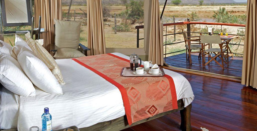 Stay in a Luxury Tent at the Ashnil Samburu Camp as well as the Ashnil Mara Camp