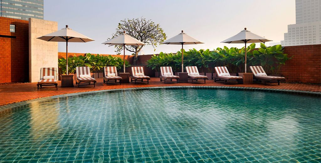 Take a dip in the pool to refresh after your flight