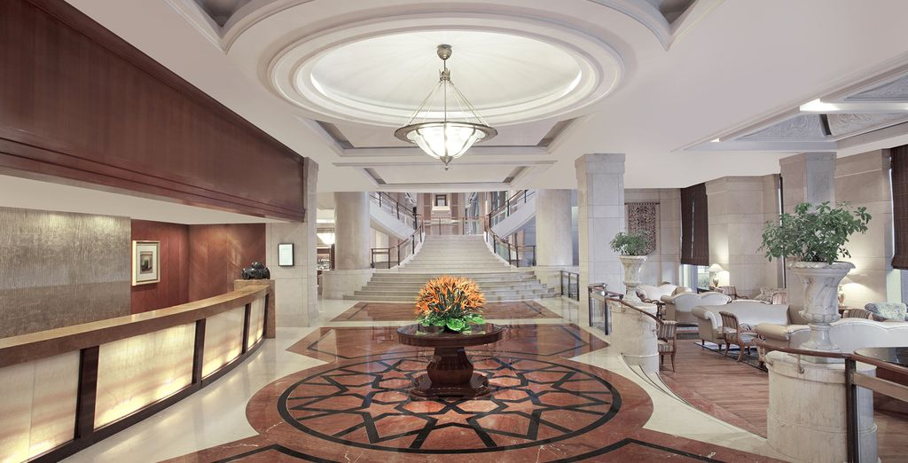 You will be staying in some beautiful  hotels along the way (pictured: Sheraton New Delhi Hotel)