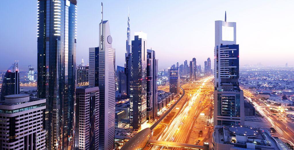 Start in the glittering city of Dubai
