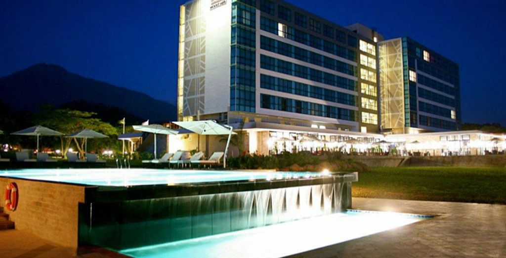 You'll stop over at the Mount Meru Hotel