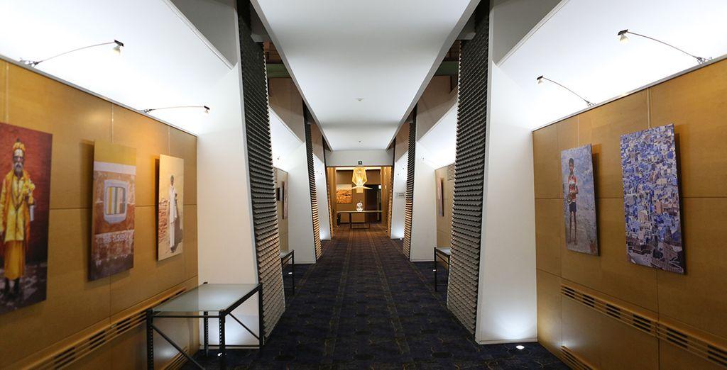Walk down the art-lined halls