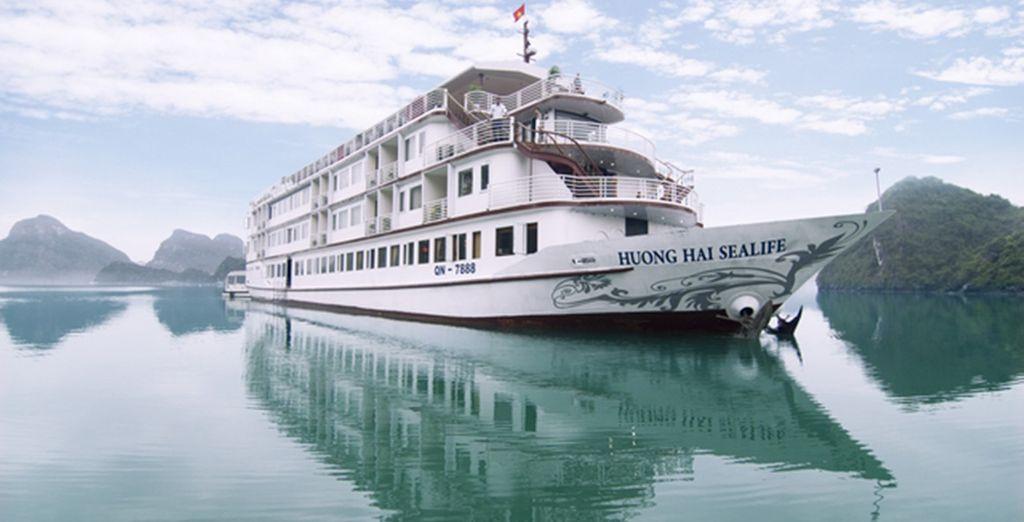 On board a small, luxury boat