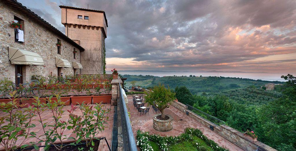 Overlooking sprawling vineyards
