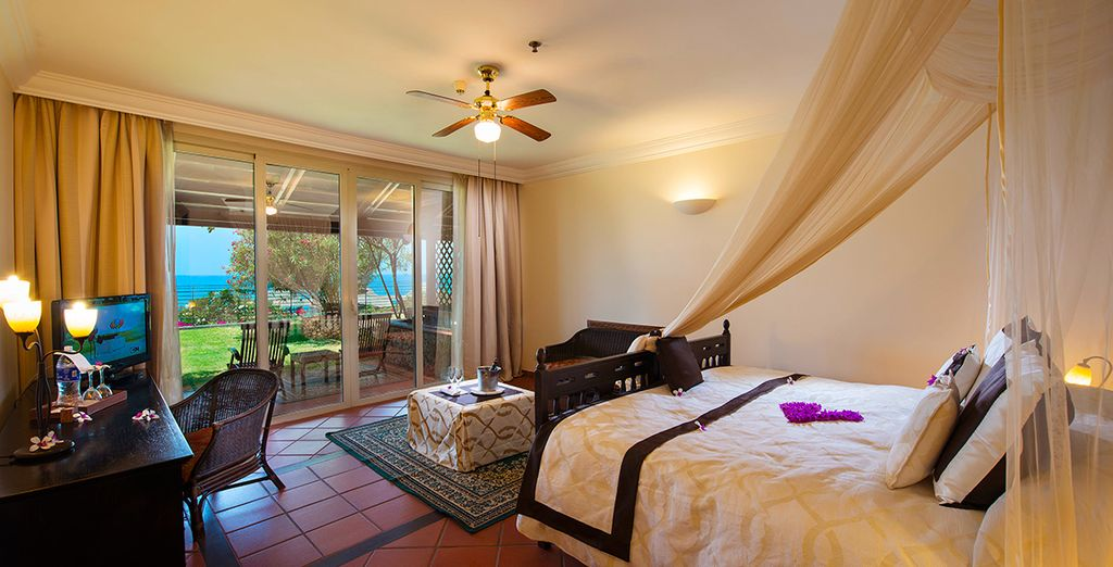 Stay in a beautifully decorated Deluxe Sea View Room