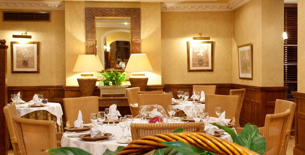 Enjoy fine food in the dining room