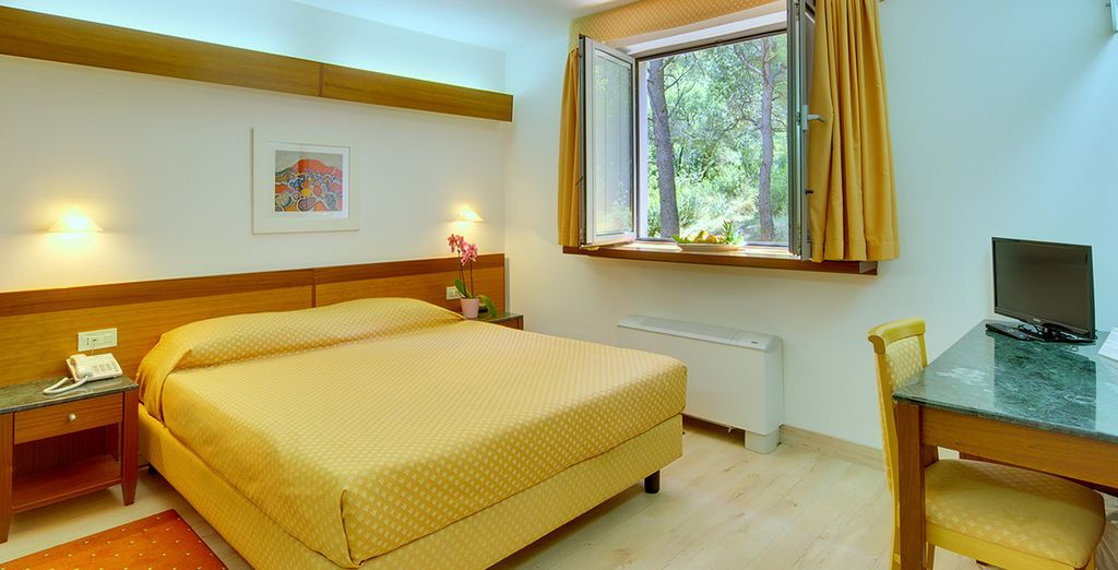 At the Hotel Uvala, where you'll find attractive rooms