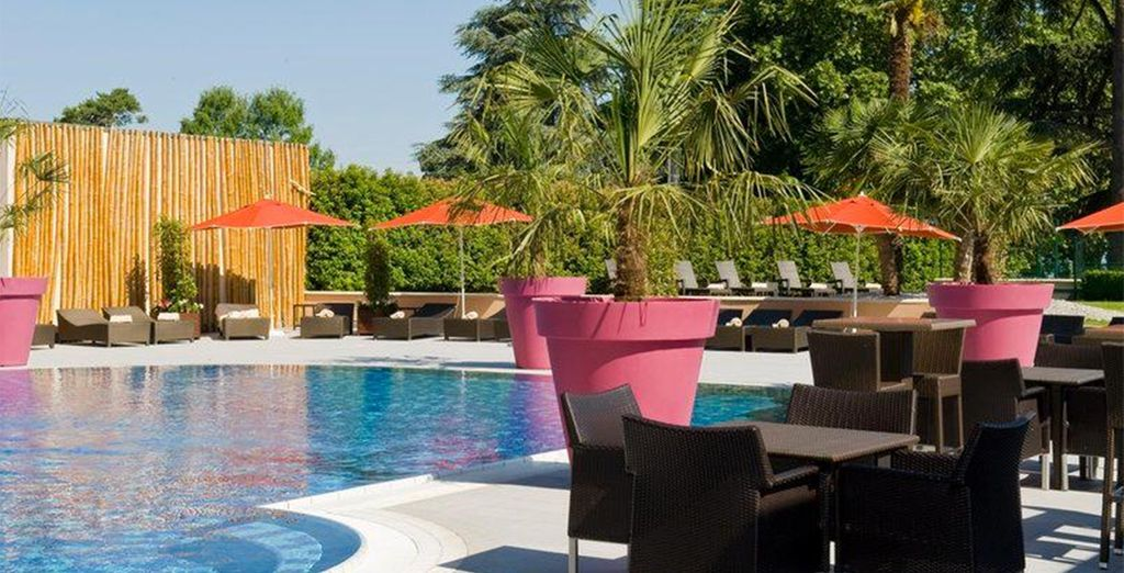 Lounge by the pool in the warmer months...