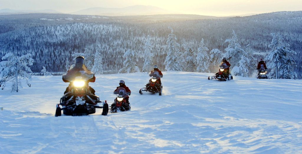 Or exploring the landscape on a thrilling snowmobile