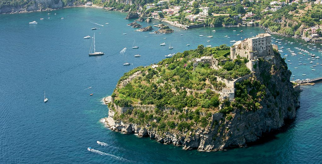 Admiring the iconic scenery such as Ischia castle