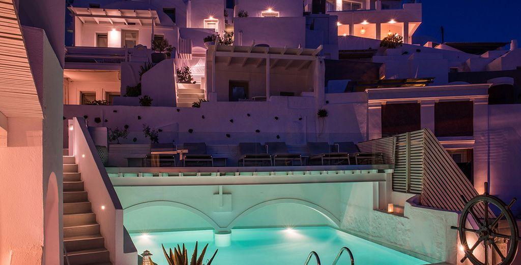 Admiring the glistening pool