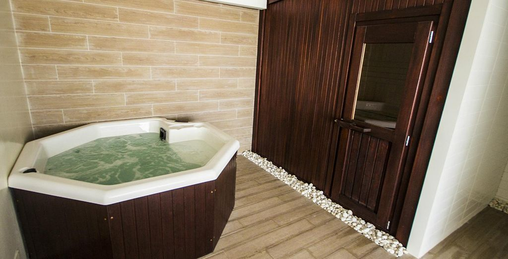 Dip into the sensual Jacuzzi or make use of the sauna