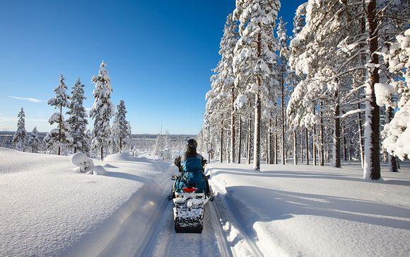 Luces del Norte y motos de nieve en la Laponia sueca