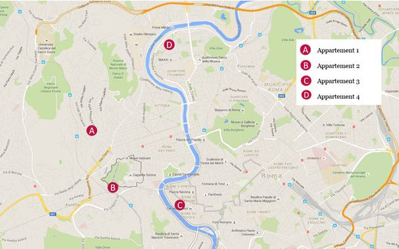 Adresses et situation géographique des 4 appartements