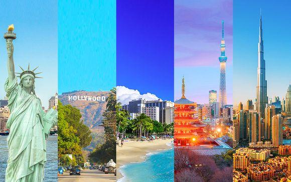 New York, Los Angeles, Honolulu, Tokyo, Dubai