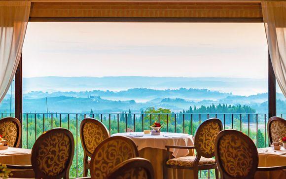 Benessere in spa resort con vista a 360° sulle colline toscane